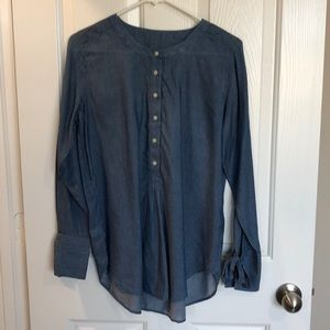 LOFT Chambray Tunic with Tie Sleeves